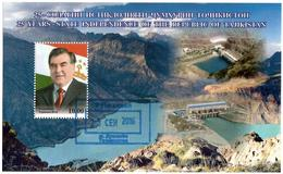 Tajikistan.2016 State Independence (President, Mountains,Dams). S/S: 10.00 Michel # BL 75  (oo) - Tajikistan