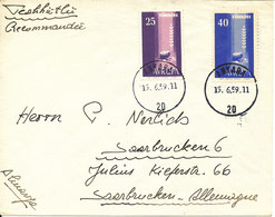 Turkey Cover Sent To Germany 15-6-1959 With EUROPA Stamps - 1921-... République