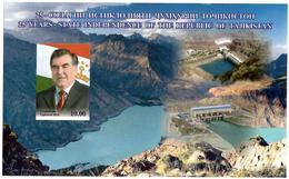 Tajikistan.2016 State Independence (President,Mountains,Dams). Imperf.S/S: 10.00  Michel # BL 75b - Tajikistan