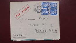 Lettre Affranchie 60 Fr Gandon N° 886 ( Par 4 Exemplaires ) De Paris Janvier 1952 Pour Le Mexique - Postmark Collection (Covers)