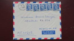 Lettre Affranchie 75 Fr Gandon N° 886 ( Par 5 Exemplaires ) De Sanvic Pour Le Mexique Aout 1954 - Postmark Collection (Covers)