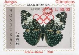 Lote H13, Honduras, 2004, HF, SS, Juegos Olimpicos, Grecia, Mariposa, Olympic Games, Greece, Butterfly - Honduras