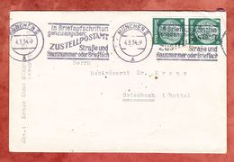 Brief, MeF Hindenburg, Bandstempel Zustellpostamt Muenchen, Nach Griesbach 1934 (68365) - Germania