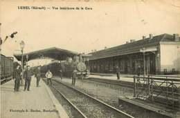 020119 - 34 LUNEL Vue Intérieure De La Gare - Chemin De Fer Chef De Gare Loco Train - Lunel