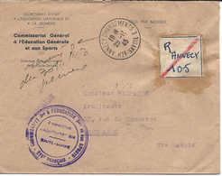ANNECY 1943, étiquette Recommandée De Fortune à La Main, Lettre En Franchise Commissariat éducation Et Aux Sports - France