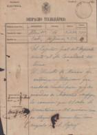 TELEG-267 SPAIN ANT. CUBA (LG1500) TELEGRAM CADIZ 1867. ESPAÑA TELEGRAPH. MODELO TELEGRAMA. - Telegrafo