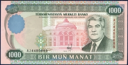 TURKMENISTAN 1000 MANAT P-8 President Saparmurat Niyazov President's Palace, Aşğabat 1995 UNC - Turkménistan