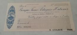 Ancien Cheque Banque Franco Portugaise D'Outremer - Chèques & Chèques De Voyage