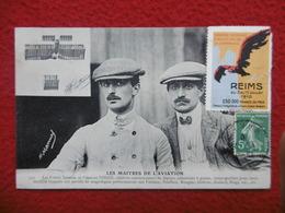 LES MAITRES DE L AVIATION LES FRERES GABRIEL ET CHARLES VOISIN VIGNETTE REIMS 1910 - Aviateurs