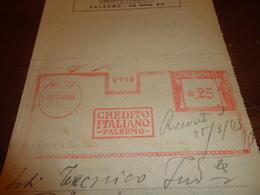 AFFRANCATURA MECCANICA CREDITO ITALIANO PALERMO-22-03-1943 25 - Affrancature Meccaniche Rosse (EMA)