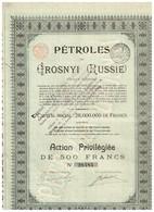 Ancienne Action - Pétroles De Grosnyi - Titre De 1921 -Titre N°28484 - Russland