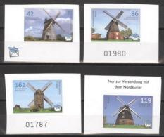 Privatpost Nordkurier 2008 Windmühlen 4 Werte Ungezähnt ** Postfrisch - BRD