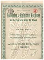 Action Ancienne - Recherches Et Exploitation Houillères Du Levant Du Midi De Mons - Titre De 1919 - N°00180 - Mijnen