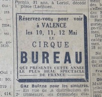 CIRQUE BUREAU- PLACARD PUBLICITAIRE SUR LES ALLOBROGES, Quotidien RHÔNE-ALPES Du 06 Mai 1946 - Publicités