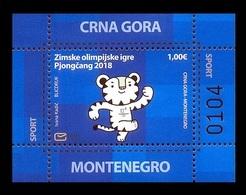Montenegro 2018 Mih. 421 (Bl.23) Olympic Winter Games In Pyeongchang. Mascot White Tiger Soohorang MNH ** - Montenegro