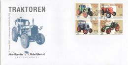 Privatpost Nordkurier 2007 4 Werte Traktoren Viererblock FDC - BRD
