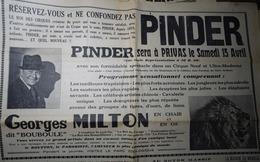 CIRQUE PINDER- PLACARD PUBLICITAIRE SUR LA RÉPUBLIQUE DES CEVENNES, Hebdo Radical Du Samedi 08 Avril 1939 - Publicités