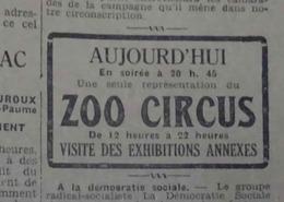 CIRQUE ZOO CIRCUS- PLACARD PUBLICITAIRE SUR LE PETIT PROVENÇAL, Quotidien Du Sud-Est Du 19 Avril 1932 - Publicités