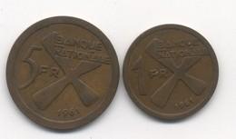 KATANGA 1 FRANC + 5 FRANCS 1961 - Katanga