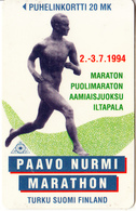 FINLAND - Paavo Nurmi Marathon 94, Turun Puhelin Telecard, Tirage 10200, Exp.date 12/96, Used - Finlande