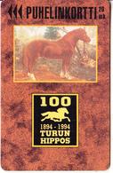 FINLAND - Horse, Turun Hippos 1894-1994, Turun Puhelin Telecard, Tirage 9000, Exp.date 12/96, Used - Finlande