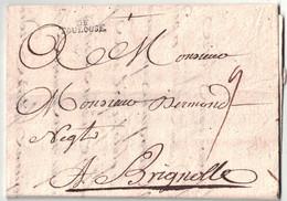 """1749 - LETTRE LAC Avec MARQUE POSTALE MP """" DE TOULOUSE """" En PORT DU TAXE MANUSCRITE Pour BRIGNOLLES (VAR) - Storia Postale"""