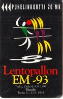 FINLAND - Lentopallon EM-93/Volleyball Championships, Turun Puhelin Telecard, Tirage 20000, Exp.date 12/94, Used - Finlande