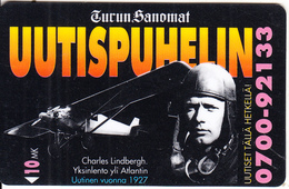 FINLAND - Charles Lindbergh, Turun Sanomat, Turun Puhelin Telecard, Tirage 9000, Exp.date 12/96, Used - Finlande