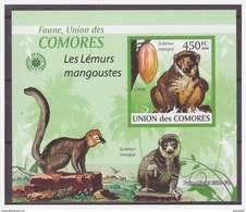 0388 Comores 2009 Aap Mangoest Ape Monkey Singe Mangoustes Cacao S/S MNH Imperf - Apen