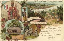 Benin, King Toffa I Hogbonu Ajase Porto Novo Dahomey (1904) Litho Postcard - Benin