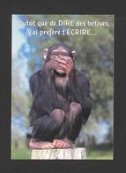 HUMOUR - ANIMALS - ANIMAUX - SINGE - MONKEY - PLUTÔT QUE DE DIRE DES BÊTISES J'AI PRÉFÉRÉ T'ÉCRIRE - PAR FOTOLINE - Humour