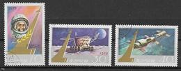 COREA DEL NORD 1975  GIORNATA DELL'ASTRONAUTICA YVERT. 1254-1256 USATA VF - Corea Del Nord
