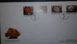 O) 2007 ALDERNEY, CORALS AND ANEMONES-DEVONSHIRE CUP CORAL-FRIED EGG-PARASITIC ANEMONE-STRAWBERRY, FDC XF - Alderney