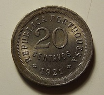 Portugal 20 Centavos 1921 (Open ''P'') - Portugal