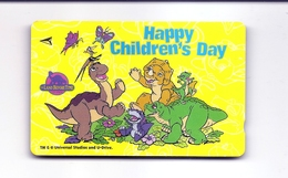 SINGAPORE Telephone Card $5 SingTel CHILDRENS DAY Land Before Time USED NO VALUE - Singapore