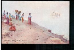 BURMA/ MYANMAR Waiting Fo The Steamer Ca 1920 OLD POSTCARD 2 Scans - Myanmar (Burma)