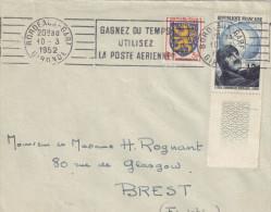 LETTRE BORDEAUX GARE 10/3/1952 FLAMME N° 907+903 POUR BREST - Postmark Collection (Covers)