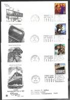 US 2000  4 Diff Celebrate The Century CATS, ET, Jurasic Park, Titanic Movies On  FDCs - Ersttagsbelege (FDC)