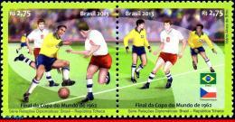 Ref. BR-3247 BRAZIL 2013 JOINT ISSUE, DIPLOMATIC RELATIONS WITH, CZECH REPUBLIC, FOOTBALL/SOCCER, MNH 2V Sc# 3247 - Brasilien