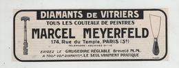 Meyerfeld Diamants De Vitriers Couteaux Peintres Paris Grugeoire - Pubblicitari