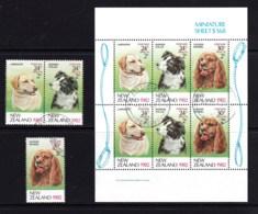 New Zealand 1982 Health - Dogs Set Of 3 + Minisheet Used - New Zealand
