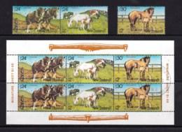 New Zealand 1984 Health - Horses Set Of 3 + Minisheet Used - New Zealand