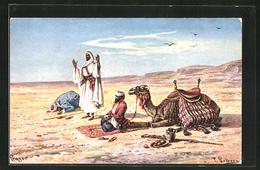 Künstler-AK Friedrich Perlberg: Berber Beten In Der Wüste Gen Mekka - Perlberg, F.