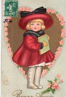 CPA, Bonne Année, Fillette En Chapeau Et Bottines  Dans Un Coeur Doré Avec Couronne De Myosotis Rose - 1 April (aprilvis)
