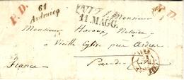 1842- Lettre De Nice ( Royaume De Sardaigne ) En Port Payé Pour Vieille Eglise Prés Ardres - Cursive 61 / Audruicq - 1801-1848: Precursors XIX