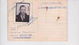 Marine Marchande-Compagnie Maritime Belge-M/V Copacabana-ficha De Identitad-1951-buenos Aires - Vieux Papiers