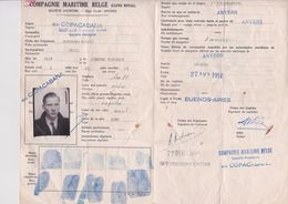Marine Marchande-Compagnie Maritime Belge-M/V Copacabana-1951-buenos Aires-immigracion-argentina - Vieux Papiers