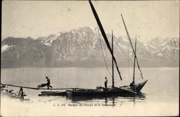 Cp Vouvry Kt. Wallis Schweiz, Barque Du Léman Et Le Grommont, Segelboot, Berg, See - VS Valais