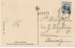 CARTE POSTALE EGLISE DE BERZEE MARQUE POSTALE NOIRE BERZEE NETTE  1928 - Marcophilie