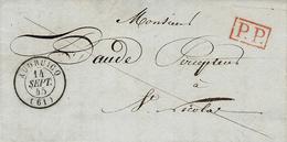 1845- Lettre D'AUDRUICQ ( Pas De Calais ) Cad T15  +  P.P. Rouge ( Au Dos Taxe 1 D- Courrier Local En Port Payé  ) - Marcophilie (Lettres)